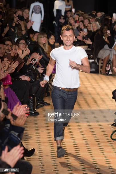 Designer Esteban Cortazar walks the runway during the Esteban Cortazar show as part of the Paris Fashion Week Womenswear Fall/Winter 2017/2018 >> on...
