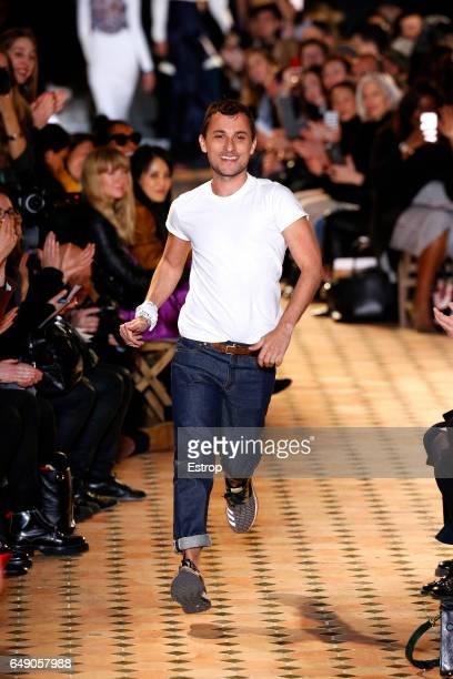 Designer Esteban Cortazar walks the runway during the Esteban Cortazar show as part of the Paris Fashion Week Womenswear Fall/Winter 2017/2018 on...