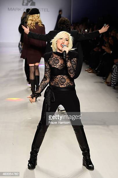 Designer Estel Day performs on the runway at the Mark And Estel fashion show during Mercedes-Benz Fashion Week Fall 2015 at The Salon at Lincoln...