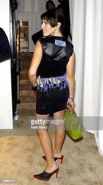 Designer Esther Nash poses backstage at the Alicia Lawhon fashion show during the MercedesBenz Shows LA Spring 2004 Collections at The Space in the...
