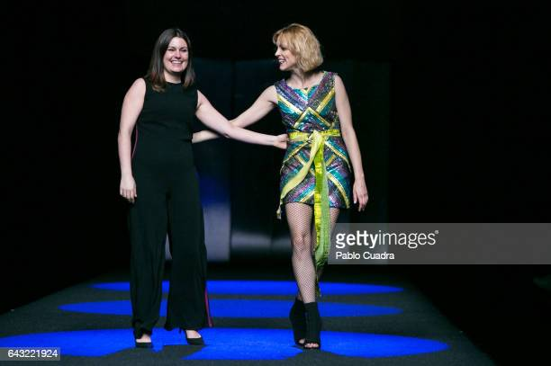 Designer Esther Noriega and actress Maggie Civantos walk the runway at the Esther Noriega show during the Mercedes-Benz Madrid Fashion Week...