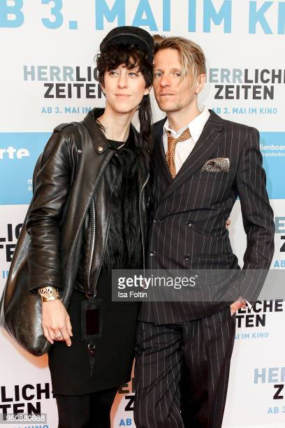 Designer Esther Perbandt and German actor Alexander Scheer during the 'Herrliche Zeiten' Premiere In Berlin at Kino International on April 24 2018 in...