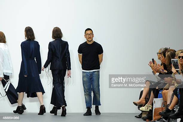 Designer Eudon Choi appears at the end of the runway following the Eudon Choi show during London Fashion Week Spring/Summer 2016/17 on September 18...