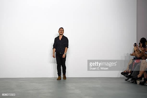 Designer Eudon Choi appears on the runway at the Eudon Choi show during London Fashion Week Spring/Summer collections 2017 on September 16 2016 in...