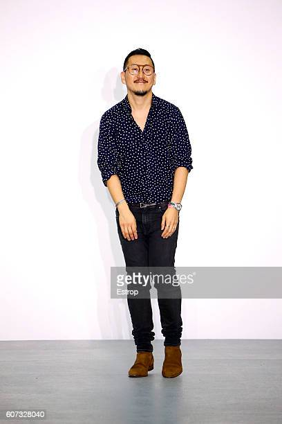 Designer Eudon Choi walks the runway at the Eudon Choi show during London Fashion Week Spring/Summer collections 2017 on September 16 2016 in London...
