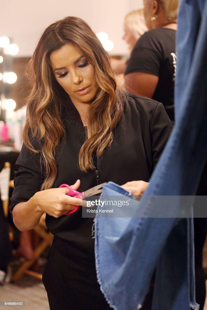 Designer Eva Longoria backstage at the Eva Longoria Collection September 2017 during New York Fashion Week: Style360 at Metropolitan Pavilion on September 13, 2017 in New York City.