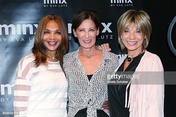 Designer Eva Lutz with Valerie Campbell and Judy Winter at the Minx by Eva Lutz show during the MercedesBenz Fashion Week Berlin Spring/Summer 2017...