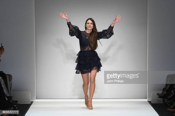 Designer Ewa Herzog acknowledges the applause of the audience after her show during the MBFW Berlin January 2018 at ewerk on January 16 2018 in...