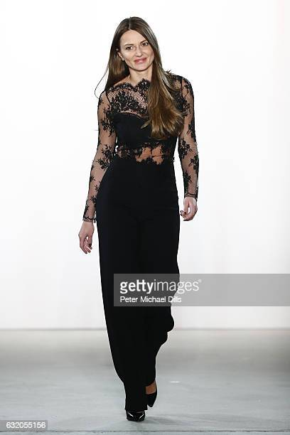 Designer Ewa Herzog acknowledges the audience at her show during the MercedesBenz Fashion Week Berlin A/W 2017 at Kaufhaus Jandorf on January 19 2017...