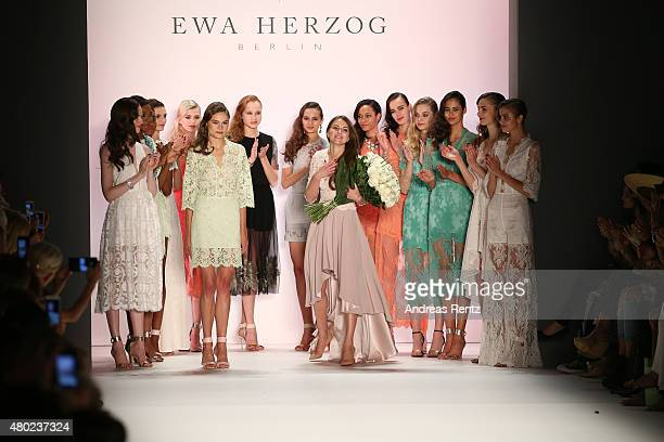 Designer Ewa Herzog and a group of models walk the runway at the Ewa Herzog show during the MercedesBenz Fashion Week Berlin Spring/Summer 2016 at...