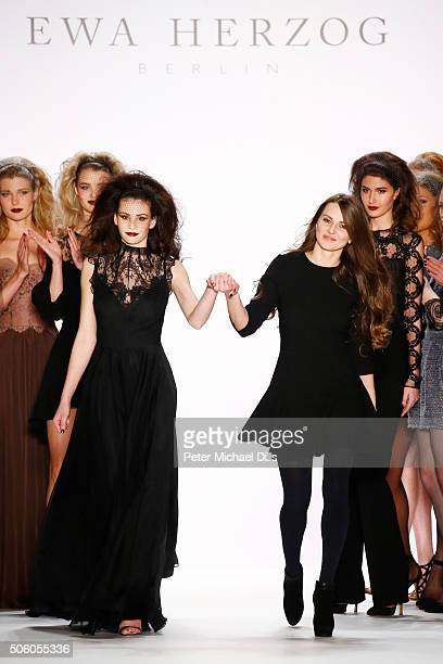 Designer Ewa Herzog attends her show during the MercedesBenz Fashion Week Berlin Autumn/Winter 2016 at Brandenburg Gate on January 21 2016 in Berlin...