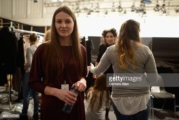 Designer Ewa Herzog is seen backstage ahead of the Ewa Herzog show during MercedesBenz Fashion Week Autumn/Winter 2014/15 at Brandenburg Gate on...