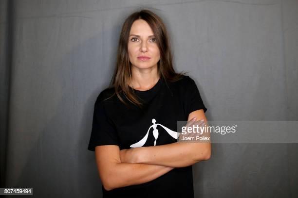 Designer Ewa Herzog is seen backstage ahead of the Ewa Herzog show during the MercedesBenz Fashion Week Berlin Spring/Summer 2018 at Kaufhaus Jandorf...