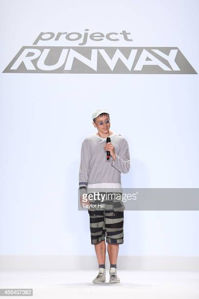 Designer fade zu grau presents his collection during the Project Runway Season 13 Finale Show at Mercedes-Benz Fashion Week Spring 2015 at The...