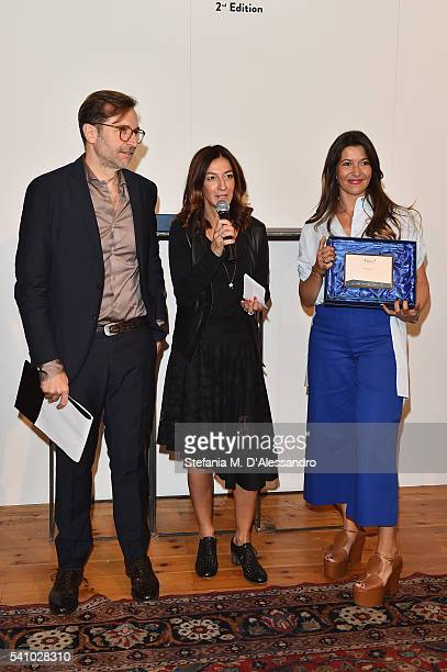 Designer Federica Tosi Antonella Bruno and Mario dell'Oglio attend Lancia Time Award Ceremony during Milan Men's Fashion Week SS17 on June 18 2016 in...