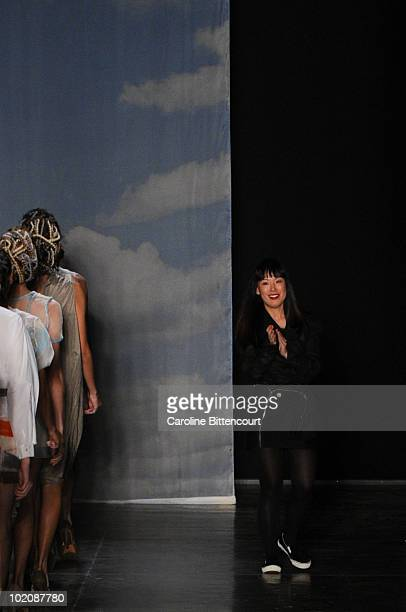 Designer Fernanda Yamamoto greets the audience during the sixth day of the Sao Paulo Fashion Week Summer 2011 at Bienal pavilion on June 14 2010 in...