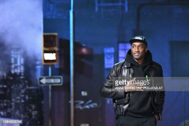 US designer for Louis Vuitton Virgil Abloh acknowledges the audience at the end of the Louis Vuitton men's Fall/Winter 2019/2020 collection fashion...