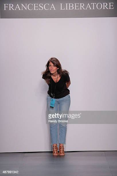 Designer Francesca Liberatore greets the audience at the Francesca Liberatore show during Spring 2016 New York Fashion Week at The Dock Skylight at...