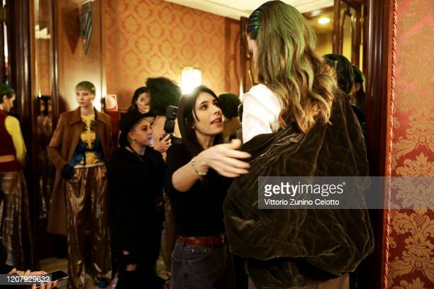 Designer Francesca Liberatore is seen backstage at the Francesca Liberatore fashion show on February 22 2020 in Milan Italy