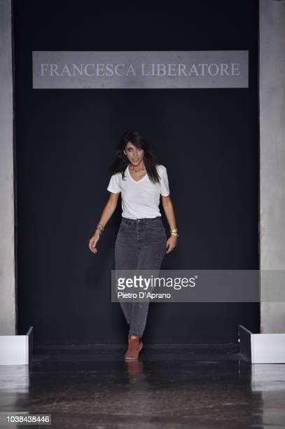 Designer Francesca Liberatore on the runway at the Francesca Liberatore show during Milan Fashion Week Spring/Summer 2019 on September 23 2018 in...