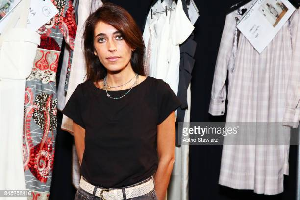 Designer Francesca Liberatore prepares backstage for Francesca Libertatore fashion show during New York Fashion Week The Shows at Gallery 1 Skylight...