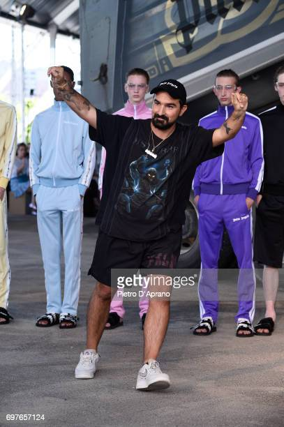Designer Francesco Ragazzi acknowledges the applause of the audience after the Palm Angels show during Milan Men's Fashion Week Spring/Summer 2018 on...