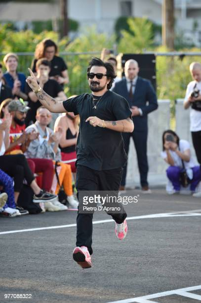 Designer Francesco Ragazzi acknowledges the applause of the audience after the Palm Angels show during Milan Men's Fashion Week Spring/Summer 2019 on...