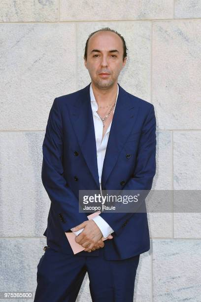 Designer Francesco Scognamiglio arrives at the Alberta Ferretti show during Milan Men's Fashion Week Spring/Summer 2019 on June 15 2018 in Milan Italy