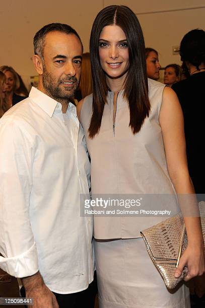 Designer Francisco Costa and actress Ashley Greene pose backstage at the Calvin Klein Spring 2012 fashion show during MercedesBenz Fashion Week at...