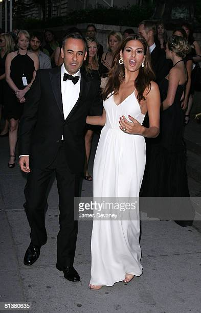 Designer Francisco Costa and actress Eva Mendes attends the 2008 CFDA Fashion Awards at The New York Public Library on June 2 2008 in New York City