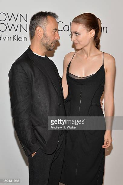 Designer Francisco Costa and actress Rooney Mara attend the Calvin Klein Collection post fashion show event during MercedesBenz Fashion Week Spring...