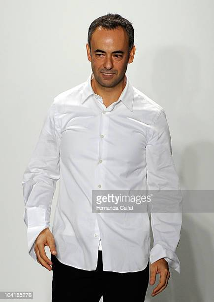 Designer Francisco Costa on the runway at the Calvin Klein Spring 2011 fashion show during MercedesBenz Fashion Week at 205 West 39th Street on...