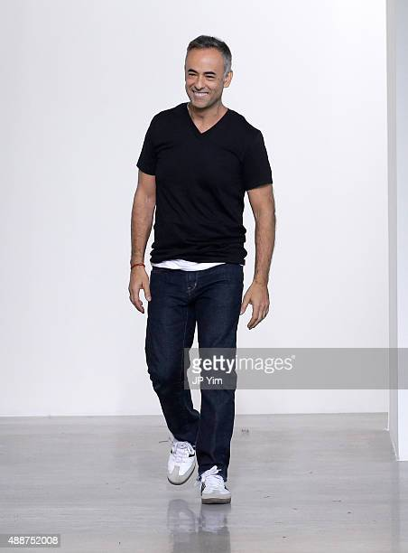 Designer Francisco Costa poses on the runway at the Calvin Klein Collection Spring 2016 show during New York Fashion Week The Shows at Spring Studios...