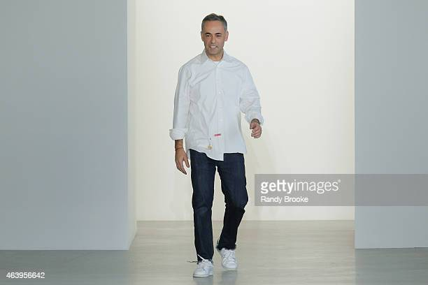 Designer Franciso Costa bows at the Calvin Klein Collection Runway Show during MercedesBenz Fashion Week Fall 2015 at Spring Studios on February 19...