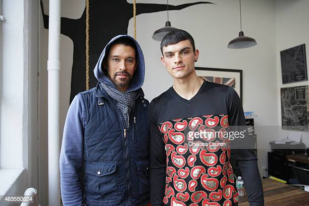 Designer Franco Lacosta and a model pose backstage before the Franco Lacosta presentation on February 15 2015 in New York City