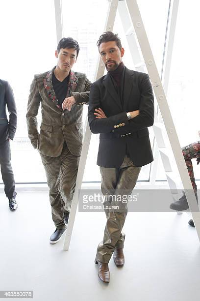 Designer Franco Lacosta and a model pose during the Franco Lacosta presentation on February 15 2015 in New York City