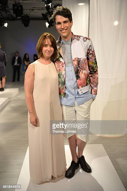 Designer Frida Homann and a model pose at the DYN show during the Mercedes-Benz Fashion Week Spring/Summer 2015 at Erika Hess Eisstadion on July 8,...