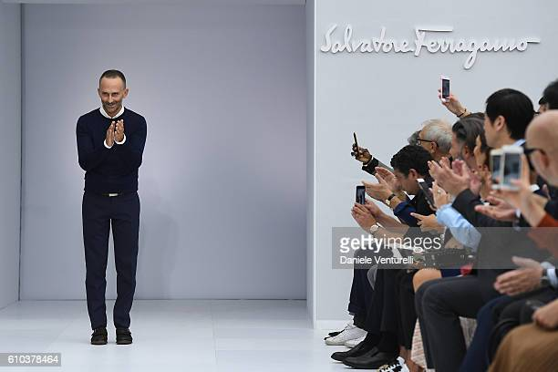 Designer Fulvio Rigoni aknowledge the applause of the public after the Salvatore Ferragamo show during Milan Fashion Week Spring/Summer 2017 on...