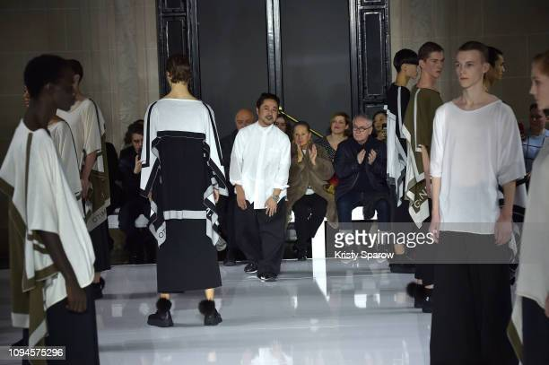 Designer Fumito Ganryu arrives on the runway at the end of the Fumito Ganryu Menswear Fall/Winter 2019-2020 show as part of Paris Fashion Week on...