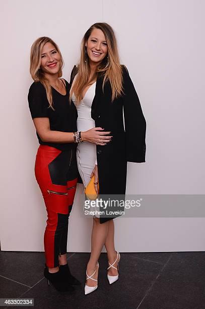 Designer Gabriela Cadena and Actress Blake Lively poses backstage at the Gabriela Cadena fashion show during MercedesBenz Fashion Week Fall 2015 on...