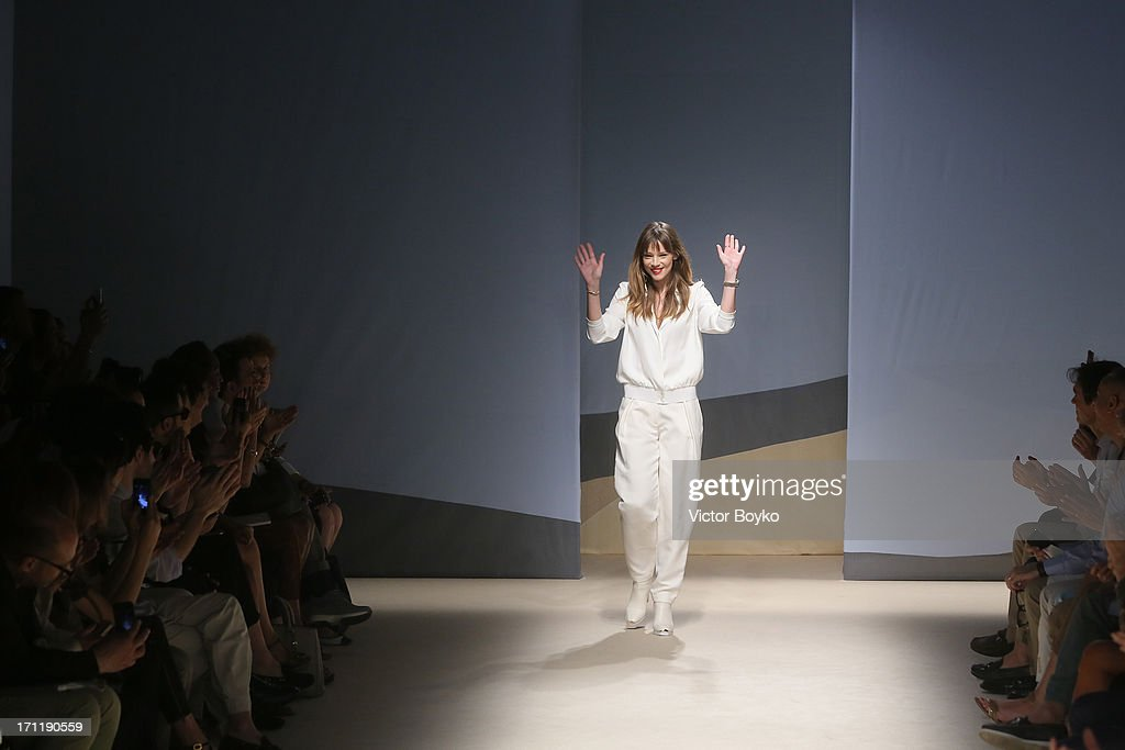 Designer Gaia Trussardi acknowledges the applause of the audience after the at the Trussardi show during Milan Menswear Fashion Week Spring Summer 2014 on June 23, 2013 in Milan, Italy.