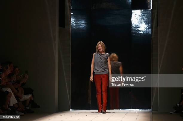 Designer Gaia Trussardi acknowledges the audience at the end of the Trussardi fashion show as part of Milan Fashion Week Spring/Summer 2016 on...