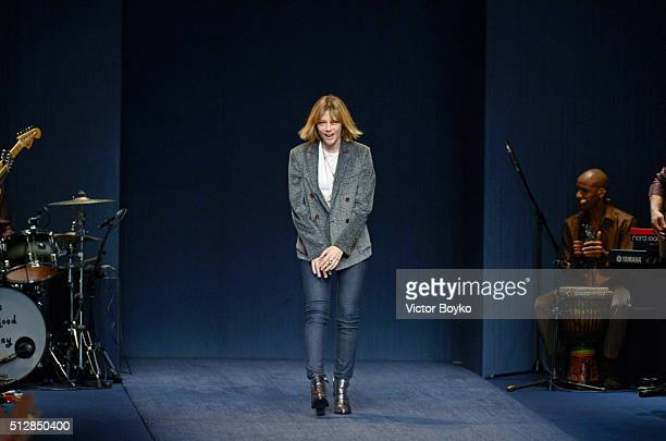 Designer Gaia Trussardi acknowledges the audience at the end of the Trussardi show during Milan Fashion Week Fall/Winter 2016/17 on February 28 2016...