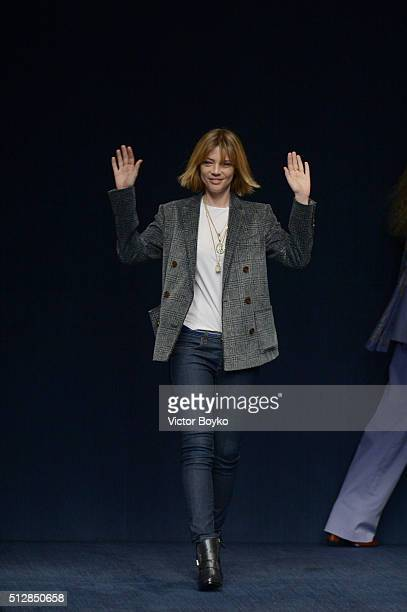 Designer Gaia Trussardi acknowledges the audience at the end of the Trussardi show during Milan Fashion Week Fall/Winter 2016/17 on February 28, 2016...