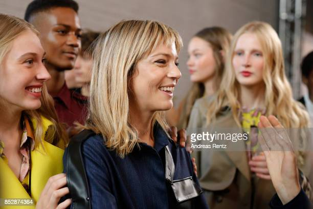 Designer Gaia Trussardi and models are seen backstage ahead of the Trussardi show during Milan Fashion Week Spring/Summer 2018on September 24, 2017...