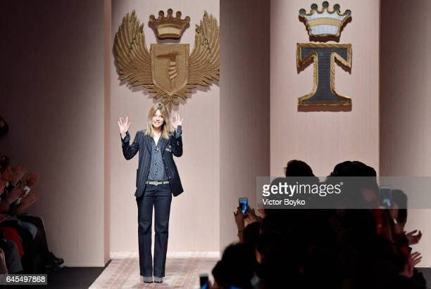 Designer Gaia Trussardi walks the runway after the Trussardi show during Milan Fashion Week Fall/Winter 2017/18 on February 26, 2017 in Milan, Italy.