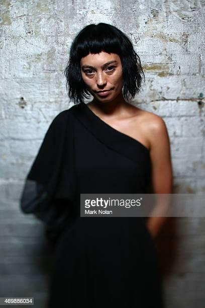 Designer Gail Sorronda poses backstage ahead of the Gail Sorronda show at Mercedes-Benz Fashion Week Australia 2015 at Carriageworks on April 16,...