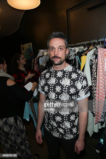 Designer Geoffrey Mac backstage at the Geoffrey Mac For Sharon Needles Show during MercedesBenz Fashion Week Fall 2014 at The Out NYC on February 11...