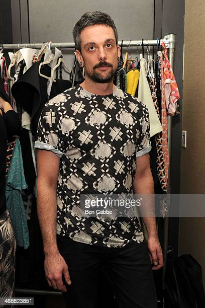 Designer Geoffrey Mac backstage during the Geoffrey Mac For Sharon Needles fashion show at Out Hotel on February 11 2014 in New York City