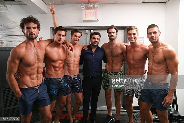 Designer George Sotelo poses with his models backstage at Thorsun fashion presentation during New York Fashion Week Men's S/S 2017 at Skylight...